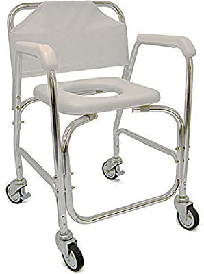 Shower Transport Chair. Lockable Wheels. 250 Lbs Capacity. Padded Toilet Seat. Allows Caregivers To Transport Disabled Loved Ones To And From Shower Or Bathroom. Corrosion Resistant Aluminum Tubing.