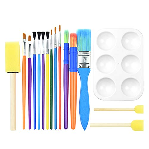 BTNOW 15 Pieces Art Paint Brushes Set Kid Starter Kit with One Color Palette for Acrylic, Oil, Watercolors