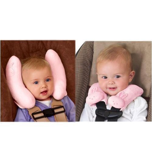 Kiddopotamus Cradler Adjustable Head Support CushyStraps Cushioned Strap Covers Combo Pink