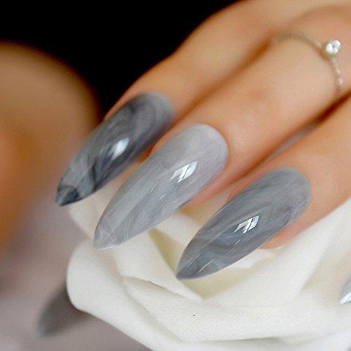 EchiQ - Puntas de uñas postizas de mármol gris extra largas, punta ovalada afilada, puntas de uñas falsas de ABS artificiales DIY UV Gel Nail Art Tips: ...