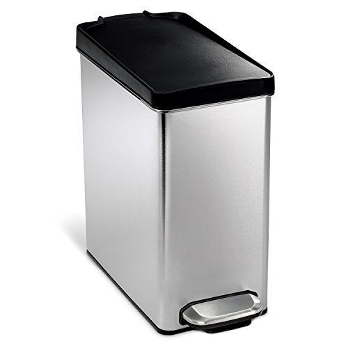 simplehuman 10 Liter / 2.6 Gallon Stainless Steel Bathroom Slim Profile Trash Can, Brushed Stainless Steel with Plastic Lid