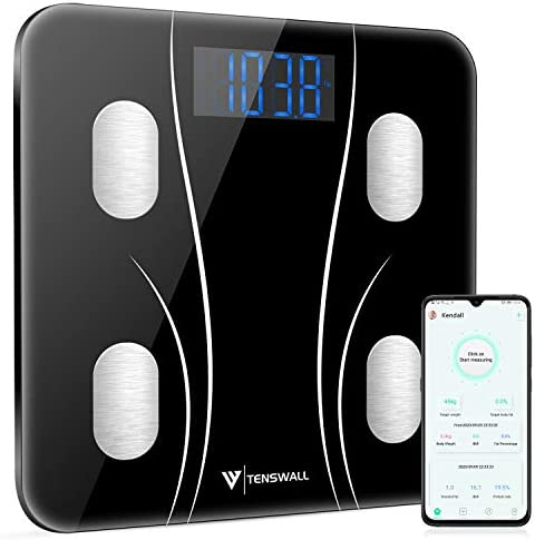 Body Weight Scale, Digital Bathroom Scale, Body Composition Monitor Health Analyzer with Smartphone App for Body Weight, BMI, Water, BMR, Muscle Mass, Body Fat, Fitness Health Scale