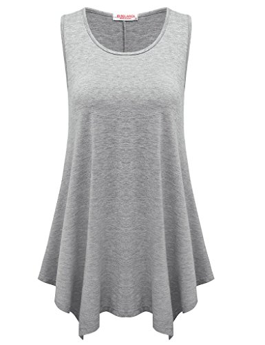 BELAROI Womens Plus Size Sleeveless Comfy Tunic Tank Top (M, Light Gray) ()