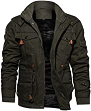 TACVASEN Men's Military Jacket Cotton Thick Outwear Jacket Multi-Pocket Coat with Removable