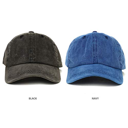 (Trendy Apparel Shop Infant Size Unstructured Pigment Dyed Washed Baseball Cap - Multipack - Black Navy)
