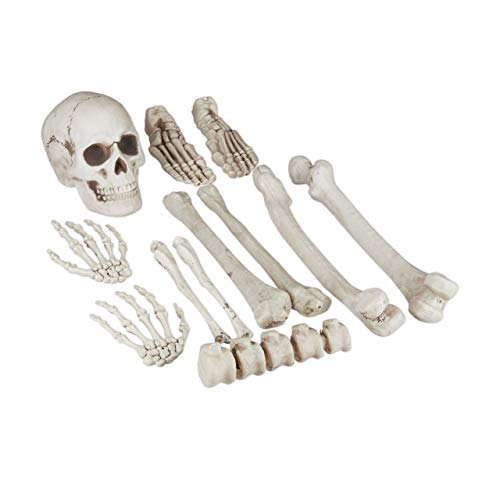 Relaxdays Halloween, 12-Piece Set for in-& Outdoors, Bones, Skull and Skeleton Hands, Party Decoration, XXL, White, Standard