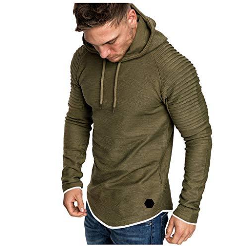 (LUCAMORE Men Casual Slim Fit Sweatshirt Hoodies Solid Pleated Raglan Long Sleeve Tracksuits Hooded M-XXXL Army Green)