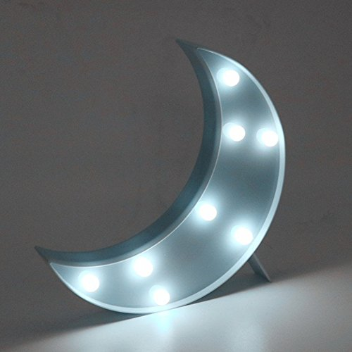 3D Moon Sign Light,LED plastic Moon Shaped Sign-Lighted Marquee Moon Sign Wall Decor for Chistmas,Birthday party,Kids Room, Living Room, Wedding Party Decor(blue ) (3d Sign)