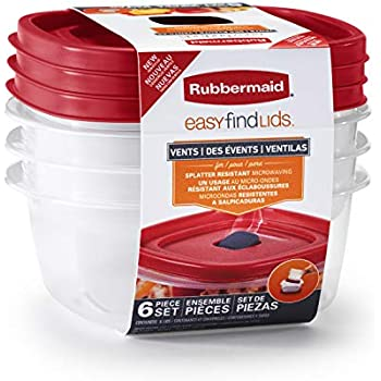 Rubbermaid Easy Find Lids Food Storage and Organization Containers, 3-Pack, Racer Red