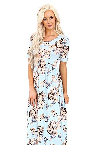 Print Sky Dress Miranda Modest Floral Blue Mikarose Maxi W wqa6IfW8x