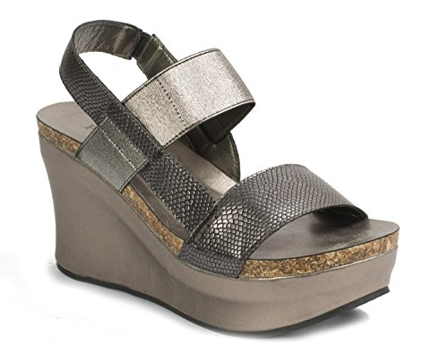 8 Pierre Dumas Wedge Sandals Platform Women's Hester Pewter Strappy 7wvxqwSF