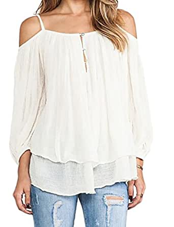 7522f9c635217 ARTFFEL Womens Long Sleeve Double-Layer Spaghetti Strap Cold Shoulder Tops  Blouse White XS
