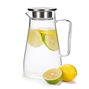 GA Homefavor Glass Pitcher 1500ml Jug Water Juice Tea Carafe with Stainless Steel Lid