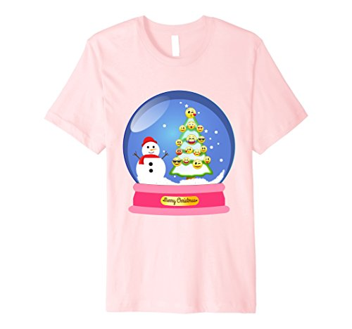 Halloween Snow Globe Costume (Mens Pink Snow Globe Emoji Ornament Snowman Christmas Gift Shirt XL Pink)