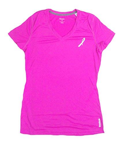 (Reebok Womens Training Sport Tee Shirt Pink Fushia With White Ribbon Logo (Small))