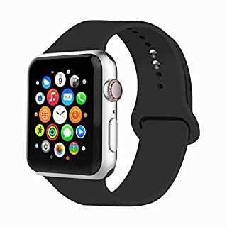 IYOU Sport Band Compatible with Watch Band 38MM 42MM 40MM 44MM, Soft Silicone Replacement Sport Strap Compatible with 2018 Watch Series 5/4/3/2/1(Black,38MM, S/M)