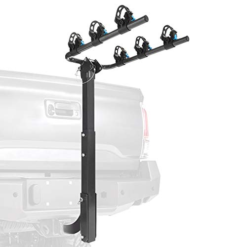 MICTUNING Hitch Mounted Bike Rack - Deluxe 3-Bicycle Rack Carrier with Folding Carry Arms Tie-down Tilt-away Main Mast