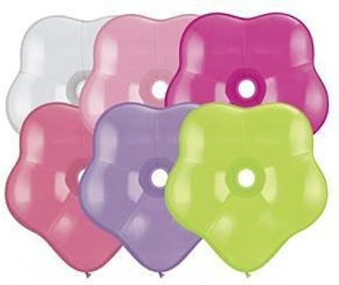 "16/"" Qualatex® GEO Blossom Shaped Latex Balloons 25 Ct Jewel Colors Assortment"
