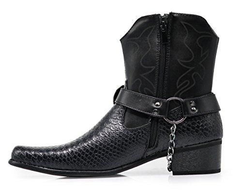 Stampe Uomo In Coccodrillo Stivali Da Cowboy Occidentali Con Cerniera Laterale, Fibbia Per Cintura E Catena In Metallo Nero