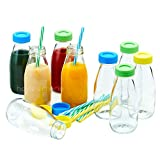- SALE - Hayley Cherie - 10oz Glass Milk Bottles with Colorful Leak Proof Lids and Reusable Straws - Set of 9