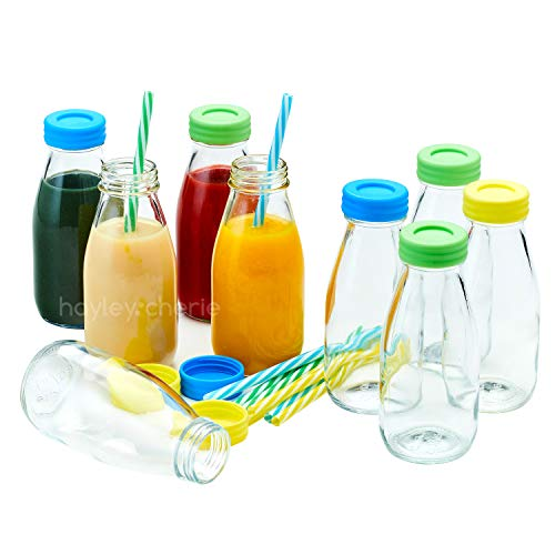 Hayley Cherie - 10oz Glass Milk Bottles with Colorful Leak Proof Lids and Reusable Straws - Set of 9