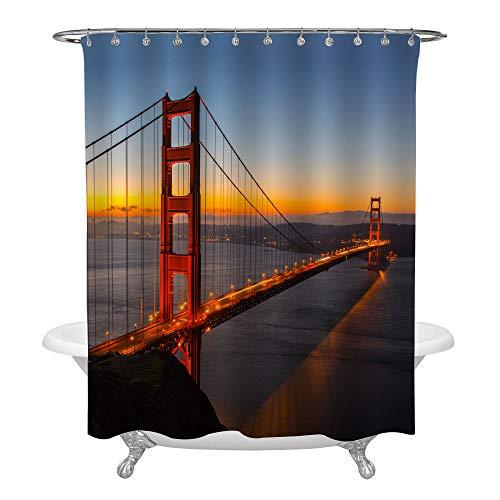 Golden Gate Hook - Golden Gate Bridge at Sunset Shower Curtain Set with Hooks, USA San Francisco Landmark Panoramic Photo Art Print for Modern Home Decoration, Waterproof Polyester Bathroom Accessories, 72 W x 72 L