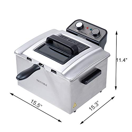 Secura Electric Deep Fryer 1800W Large Stainless Steel with with Triple Basket and Timer MSAF40DH, 4.0L/4.2Qt, Professional Grade by Secura (Image #6)