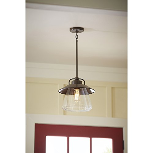 Allen roth bristow 12 in w mission bronze pendant light with clear allen roth bristow 12 in w mission bronze pendant light with clear glass shade ceiling pendant fixtures amazon aloadofball Gallery