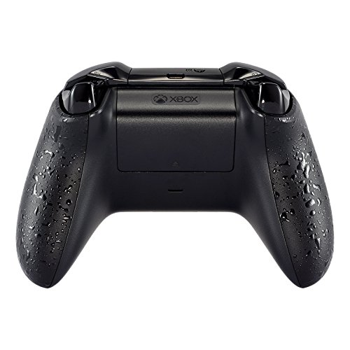 eXtremeRate Textured Black Back Panels, Comfortable Non-slip Side Rails, 3D Splashing Handles, Game Improvement Replacement Parts for Microsoft Xbox One X & One S Controller