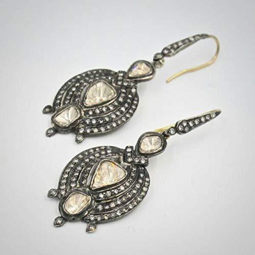 Victorian Style 4.10ctw Rose cut Diamonds Polki Sterling Silver Statement Long Danglers Wedding Earrings Chand Bali Bali Style Diamond Earring