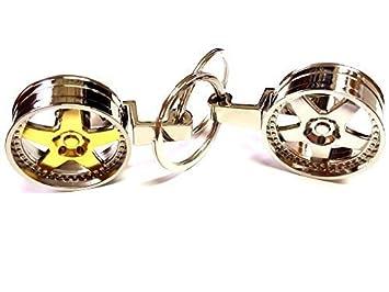 1x Alufelge Tiefbettfelge Schlüsselanhänger aus Metall Gold / verchromt Schlüssel KFZ Felge Anhänger ca 8, 5 Lang & 3, 5 Breit (Gold) ore 7690