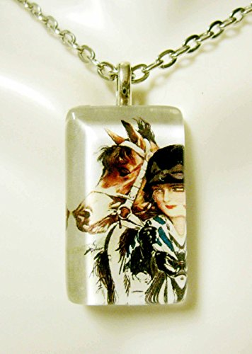 (Girl with her brown pony glass pendant - HGP09-001)