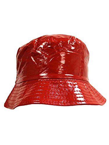 Luxury Divas Red Crushable Bucket Style Rain Hat by Luxury Divas