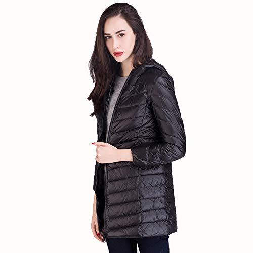 Otoño Damas Para Chaqueta Cálido Y Ideal De Ligero Con Mujer Niñas Outwear Capucha Opcional Invierno Abrigo Black Delgada xpxUqIOE