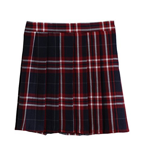 Women School Uniforms plaid Pleated Mini Skirt, Waist(84cm/33inch) 3XL, College Red