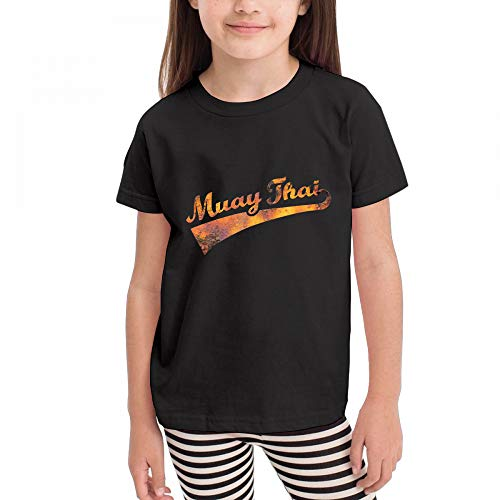 Antonia Bellamy Retro Vintage Style Muay Thai Kids Short Sleeve Crew Neck Graphic T-Shirts Tops by Antonia Bellamy