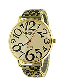 Women's Super Larger Leopard Pattern Easy to Read Stretch Band Watch-Gold Tone