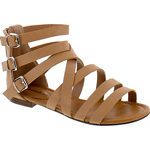 Breckelle's Women's Covina-24 Gladiator Strappy Flat Sandals Natural 6 ()