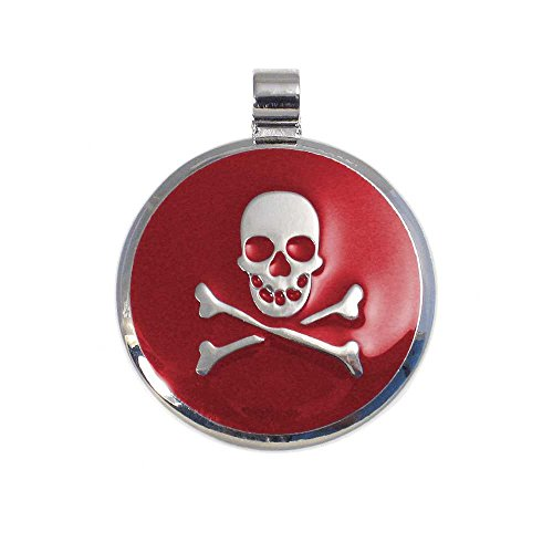LuckyPet Pet ID Tag - Skull & Crossbones Jewelry Tag - Dog Tags & Cat Tags - Custom Engraved on Back Side - Size: Large, Color: -