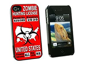 Graphics and More United States Zombie Hunting License Red Permit - Snap On Hard Protective Case for Apple iPhone 5c - Black - Carrying Case - Non-Retail Packaging - Black