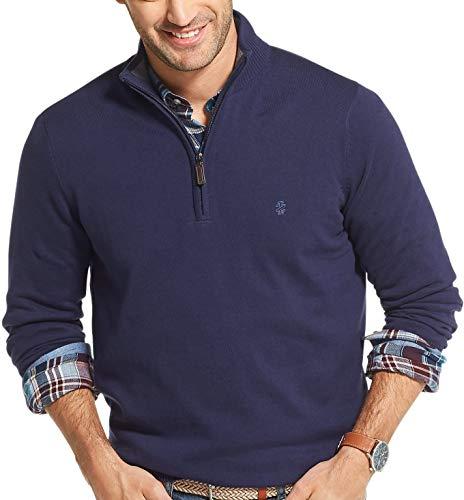 IZOD Men's Premium Essentials Quarter Zip Solid 12 Gauge Sweater, Peacoat, X-Large (Mens Sweater Quarter Zip)