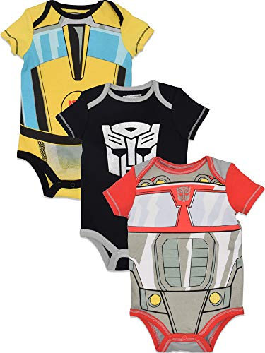 Transformers Baby Boys' 3 Pack Costume Bodysuits Optimus Prime Bumblebee Megatron, 6-9 -