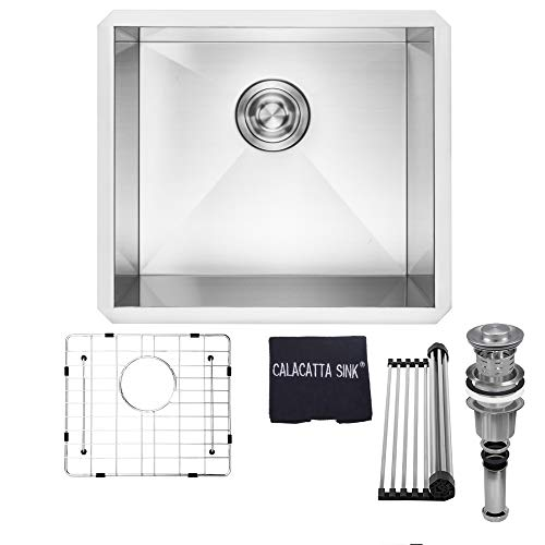 (Calacatta Kitchen Sink 18-inch Handmade Single Bowl Undermount 16 Gauge Stainless Steel 304 Kitchen Sink w/ Drain Strainer Grid Dish Cloth, CS1816)