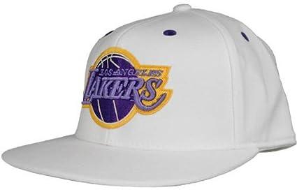 918ee57c609 Amazon.com   Los Angeles Lakers White Team Color Logo Adidas Flex ...