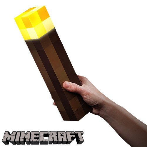 ThinkGeek Minecraft Light-Up Wall Torch - Mounts To Your Wall - Officially Licensed Minecraft Collectible (Gamer Piggy Bank)