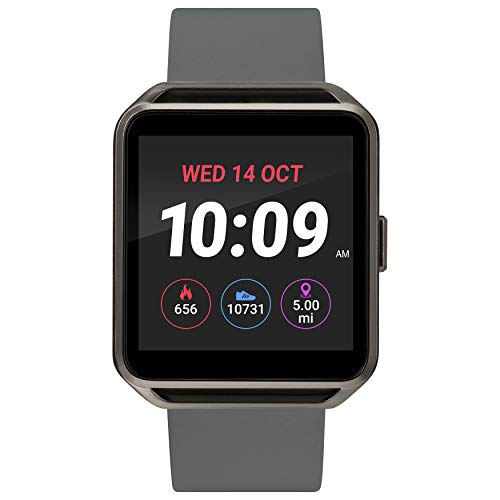 iConnect by Timex TW5M31300 Gunmetal Square Smartwatch, Gray Silicone Strap