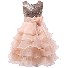 Little/Big Girls Sequins Ruffled Flower Girl Birthday Pageant Dress
