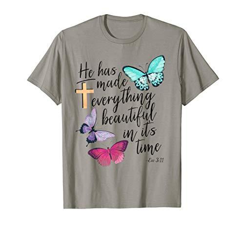 Ecclesiastes Ecc Bible Verse Watercolor Butterfly T-shirt