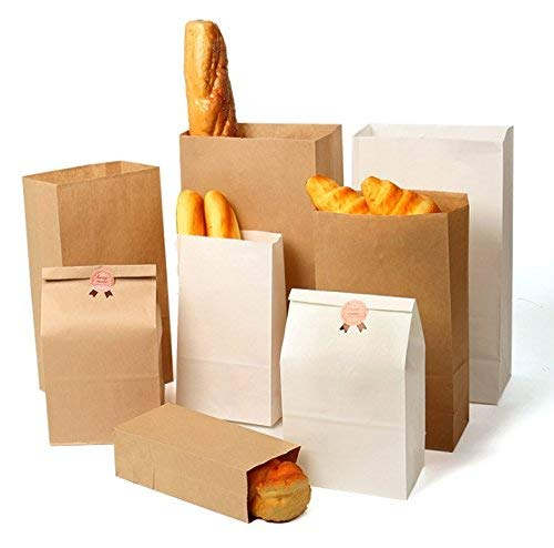 Acidea 50 Pezzi Sacchetti di Carta 5.1x3.15x9.5 Inches Carta Regalo Sacchettini Carta Kraft Ideali per Caramelle Compleanno Marroni Buste Shopper Biodegradabili