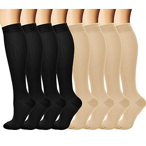 Laite Hebe Brand Women and Men Compression Socks(8 Pairs)-Best Medical,Nursing,Hiking,Travel,Running,Small/Medium,Black+Nude (Best Hospitals In Bogota)